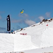 2010 Ski Champion, Bobby Brown, high above Thredbo. Photo Darren Teasdale.